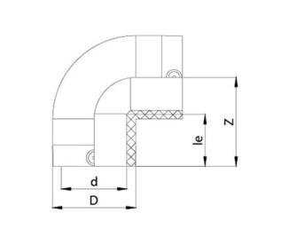 Отвод электросварной 90° Ø50 мм ПЭ100 SDR 11